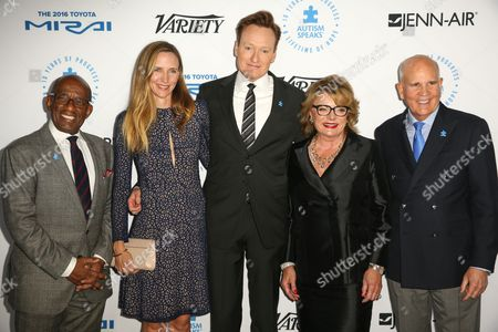 Stock Picture of Al Roker, from left, Liza Powel, Conan O'Brien, Suzanne Wright and Bob Wright arrive at the Autism Speaks to LA Celebrity Chef Gala at Barker Hangar, in Santa Monica, Calif