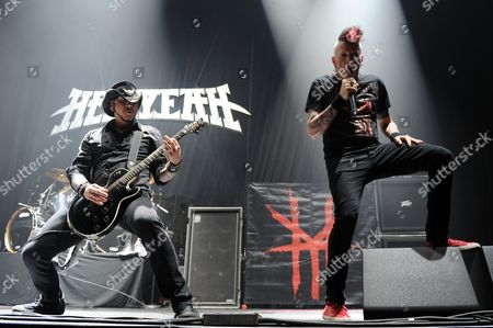 Chad Gray and Tom Maxwell of Hellyeah perform at the Seminole Hotel and Casinos Hard Rock Live on in Hollywood, Florida