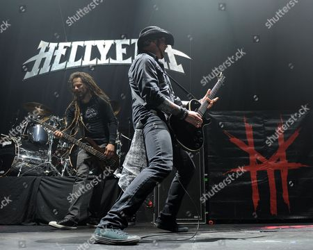 Kyle Sanders and Tom Maxwell of Hellyeah performs at the Seminole Hotel and Casinos Hard Rock Live on in Hollywood, Florida