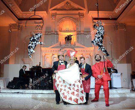Matt Selman, Billy Harris, Cort Cass, and Eric Wareheim celebrate at Beefsteak 4 at Vibiana on in Los Angeles, CA