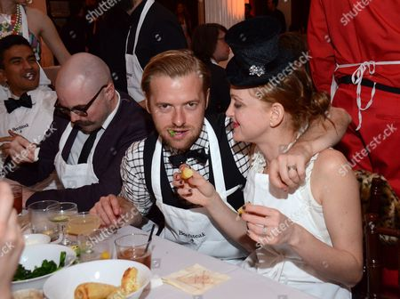 Stock Picture of Jayma Mays (R) and Adam Campbell celebrate at Beefsteak 4 at Vibiana on in Los Angeles, CA