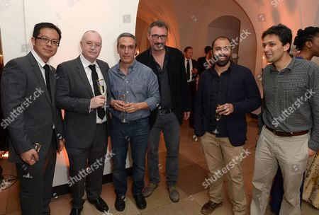 Nominees directors Anthony Chen, Antonio Piazza (second from left), Fabio Grassadonia, Ritesh Batra and Ahmad Abdalla attend the 57th BFI London Film Festival Awards Night at Banqueting House Whitehall,, in London