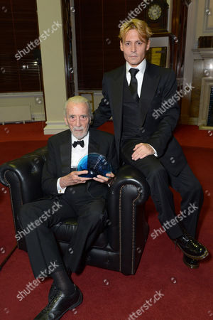 Johnny Depp and Sir Christopher Lee as he received the BFI Fellowship Award during the 57th BFI London Film Festival Awards Night at Banqueting House Whitehall,, in London
