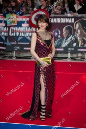 Ryoko Yonekura poses for photographers upon arrival at the premiere of the film 'Captain America Civil War' in London