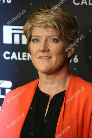 Claire Balding poses for photographers upon arrival for the Pirelli Calendar 2016 launch at the Grosvenor Hotel Ballroom in London