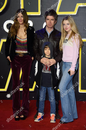Sara Macdonald, Noel Gallagher, Anais Gallagher and Donovan Gallagher poses for photographers upon arrival at the European premiere of the film 'Star Wars: The Force Awakens ' in London
