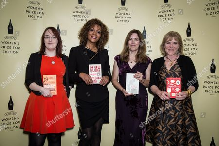 From left, Shortlisted novelists for the Baileys Women Prize for Fiction Award, Lisa McInerney, Cynthia Bond, Elizabeth McKenzie and Hannah Rothschild pose for photographers during a photo call before the Baileys Women Prize for Fiction Awards Ceremony in London