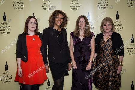 From left, Shortlisted novelists for the Baileys Women's Prize for Fiction Award, Lisa McInerney, Cynthia Bond, Elizabeth McKenzie and Hannah Rothschild pose for photographers during a photo call before the Baileys Women's Prize for Fiction Awards Ceremony in London