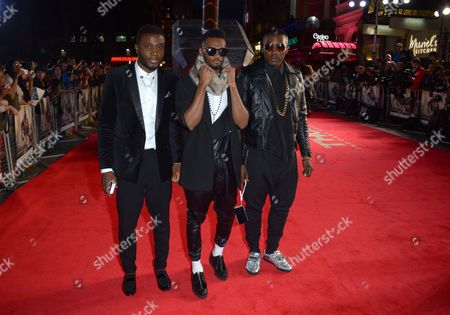 X Factor finalists 2013 Sterling Ramsay, Joseph Thomas and Kazeem Ajobe of Rough Copy attend the World Premiere of Thor: The Dark World in Leicester Square, London, on