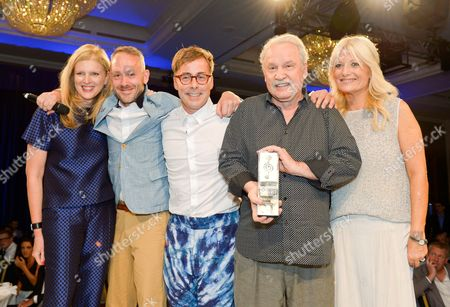 Lisa Gregg, Simon Ratcliffe, Felix Buxton, Giorgio Moroder and Gaby Roslin during the Nordoff Robbins O2 Silver Clef Awards 2014 at the Hilton Hotel in London on