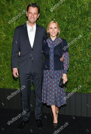 Pierre-Yves Roussel and fashion designer Tory Burch attend the CHANEL Tribeca Film Festival Artist Dinner at Balthazar Restaurant, in New York