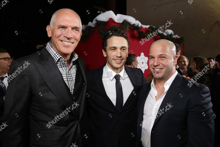 Executive Producer Joseph Drake, James Franco and Executive Producer Nathan Kahane seen at Columbia pictures present the World Premiere of 'The Night Before', in Los Angeles, CA