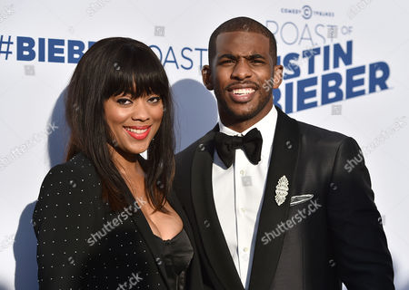 Jada Crawley, left, and Chris Paul arrive at the Comedy Central Roast of Justin Bieber at Sony Pictures Studios, in Culver City, Calif