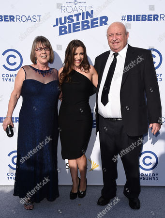 Diane Dale, from left, Pattie Mallette and Bruce Dale arrive at the Comedy Central Roast of Justin Bieber at Sony Pictures Studios, in Culver City, Calif