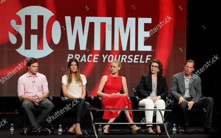 "From left, actor Michael C. Hall, actress Jennifer Carpenter, actress Yvonne Strahovski, executive producer Sara Colleton, and executive producer Scott Buck, from the television show ""Dexter,"" participate in the CW Showtime TCA Panels, in Beverly Hills, Calif"