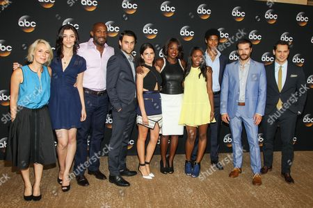 From left, Liza Weil, Katie Findlay, Billy Brown, Jack Falahee, Karla Souza, Viola Davis, Aja Naomi King, Alfred Enoch, Charlie Weber, and Matt McGorry attend the Disney/ABC Television Group 2014 Summer TCA held at the Beverly Hilton Hotel, in Beverly Hills, Calif
