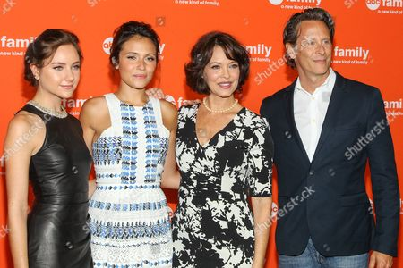 From left, Haley Ramm, Italia Ricci, Mary Page Keller, Steven Weber attend the Disney/ABC Television Group 2014 Summer TCA held at the Beverly Hilton Hotel, in Beverly Hills, Calif