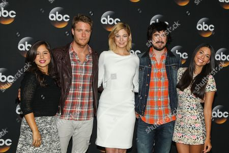 Chloe Wepper, from left, Jake McDorman, Analeigh Tipton, Nicolas Wright, and Jade Catta-Pretta attend the Disney/ABC Television Group 2014 Summer TCA held at the Beverly Hilton Hotel, in Beverly Hills, Calif