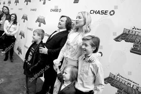 Stock Image of Samuel Jason Black, Jack Black, Kate Hudson, Bingham Hawn Bellamy and Ryder Robinson seen at DreamWorks Animation and Twentieth Century Fox World Premiere of 'Kung Fu Panda 3' at TCL Chinese Theater, in Hollywood, CA