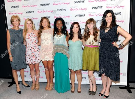 """Publisher Jayne Jamison, left, finalists Chloe Freytag, Lindsay Brown, Kimberly Anyadike, Brittany McMillan, Lindsay Giambattista and Seventeen editor-in-chief Ann Shoket attend the 2nd Annual Seventeen Magazine """"Pretty Amazing"""" finalists luncheon at Hearst Tower on in New York"""