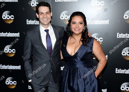 """Actors Andrew Leeds and Cristela Alonzo from the show """"Cristela"""" attend the Entertainment Weekly and ABC network upfront party, in New York"""