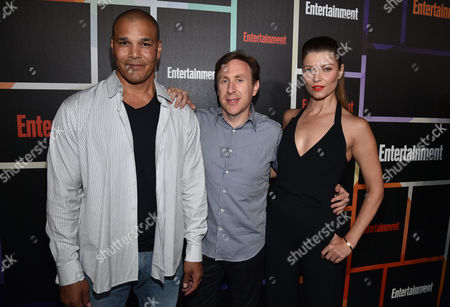 Geno Segers, and from left, Jonathan Tropper and Ivana Milicevic arrive at Entertainment Weekly's Annual Comic-Con Closing Night Celebration at the Hard Rock Hotel, in San Diego