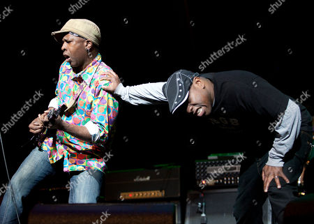 Stock Photo of Vernon Reid and Corey Glover of Living Colour perform as part of the Experience Hendrix Tour at the Gibson Amphitheatre on in Universal City, California