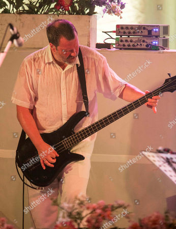 Billy Gould with Faith No More performs at the Masquerade Music Park, in Atlanta