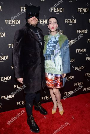 Stock Picture of Eli Mizrahi, left, and Michelle Harper attend Fendi's New York Flagship Boutique opening celebration, in New York