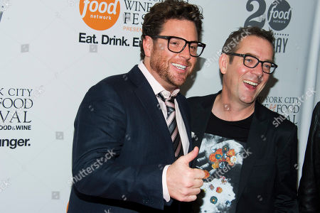 Scott Conant, left, and Ted Allen attend the Food Network's 20th birthday party on in New York