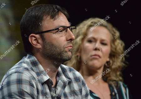 """Executive Producers Mark Goffman and Heather Kadin speak on stage during the """"Sleepy Hollow"""" panel at the The FOX 2014 Summer TCA held at the Beverly Hilton Hotel, in Beverly Hills, Calif"""