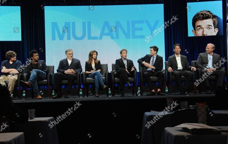 """Jack Pearlman, from left, Seaton Smith, Elliott Gould, Nasim Pedrad, Martin Short, Creator/Writer/Executive Producer John Mulaney, Executive Producer Jon Pollack, and Executive Producer/Director Andy Ackerman speak on stage during the """"Mulaney"""" panel at the The FOX 2014 Summer TCA held at the Beverly Hilton Hotel, in Beverly Hills, Calif"""
