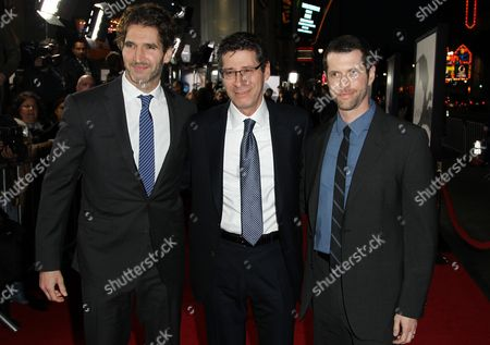 "Creator and executive producer D. B. Weiss, left, Eric Kessler, center, and Creator and executive producer David Benioff pose together at the premiere for the third season of the HBO television series ""Game of Thrones"" at the TCL Chinese Theatre on in Los Angeles"