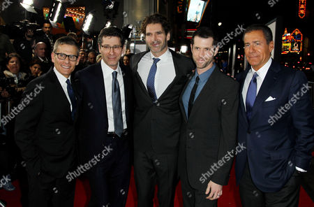 "Michael Lombardo, creator and executive producer D. B. Weiss, left, Eric Kessler, center, and creator and executive producer David Benioff, and Richard Plepler pose together at the premiere for the third season of the HBO television series ""Game of Thrones"" at the TCL Chinese Theatre on in Los Angeles"