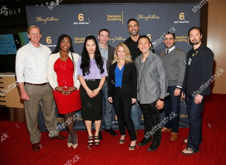 """Veteran Colin Archipley, from left, and fellow veterans Marjorie Williams, Tigon Abalos, Josh Mantz, Karen Gallagher, Jeff Bosley, Thom Tran, Zack Bazzi, and Matt """"Griff"""" Griffin presented their inspirational stories at the Got Your 6 """"Storytellers"""" event, in advance of Veteran's Day at the Television Academy's Wolf Theatre at the Saban Media Center, in North Hollywood, Calif"""
