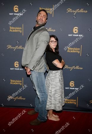 """Jeff Bosley, left, and Kate Hoit attend the Got Your 6 """"Storytellers"""" event, in advance of Veteran's Day at the Television Academy's Wolf Theatre at the Saban Media Center, in North Hollywood, Calif"""