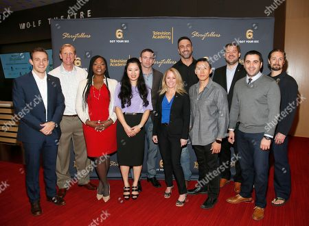 """Got Your 6 """"Storytellers"""" event producer Matt Mabe, from left, and veterans Colin Archipley, Marjorie Williams, Tigon Abalos, Josh Mantz, Karen Gallagher, Jeff Bosley, Thom Tran, Got Your 6 executive director Bill Rausch, veterans Zack Bazzi and Matt """"Griff"""" Griffin appeared at the """"Storytellers"""" event, in advance of Veteran's Day at the Television Academy's Wolf Theatre at the Saban Media Center, in North Hollywood, Calif"""
