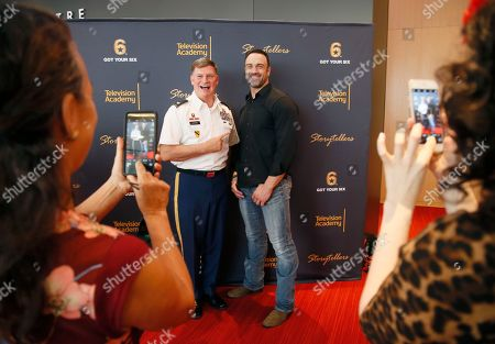 """Arnold Strong, left, and Jeff Bosley attend the Got Your 6 """"Storytellers"""" event, in advance of Veteran's Day at the Television Academy's Wolf Theatre at the Saban Media Center, in North Hollywood, Calif"""