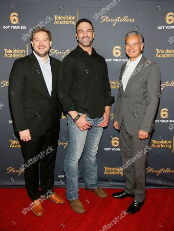 """Stock Photo of Bill Rausch, executive director at Got Your 6, from left, veteran Jeff Bosley, and Sheraton Kalouria, president and CMO at Sony Pictures Television attend the """"Storytellers"""" event, in advance of Veteran's Day at the Television Academy's Wolf Theatre at the Saban Media Center, in North Hollywood, Calif"""