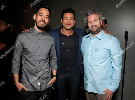 From left, Mike Shinoda, Mario Lopez, and Jacob Rosenberg at the Distortion of Sound documentary premiere presented by Harman attend the Grammy Museum, in Los Angeles
