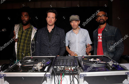 From left, Shakespeare, Mayer Hawthorne, Peanut Butter Wolf, and J Rocc attend the Distortion of Sound documentary premiere presented by Harman at the Grammy Museum, in Los Angeles