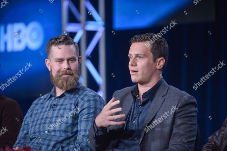 Michael Lannan, left, and Jonathan Groff on stage during the Looking panel discussion at the HBO portion of the 2014 Winter Television Critics Association tour at the Langham Hotel on in Pasadena, Calif