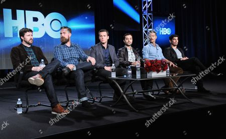 From left, Andrew Haigh, Michael Lannan, Jonathan Groff, Frankie J. Alvarez, Murray Bartlett, and Raul Castillo on stage during the panel discussion for Looking at the HBO portion of the 2014 Winter Television Critics Association tour at the Langham Hotel on in Pasadena, Calif