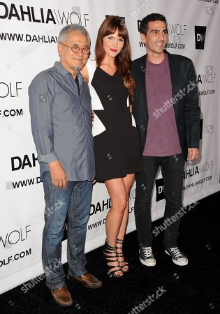 From left, Charles Park, Valerie Azlynn, and Justin Mavandi arrive at the Hollywood debut of Dahlia Wolf, Fashion Made By You at the Graffiti Cafe on in Los Angeles