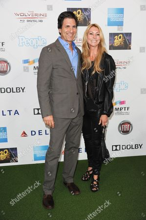 Steven Levitan, left, and Krista Levitan arrive at the Hugh Jackman One Night Only at the Dolby Theatre on in Los Angeles