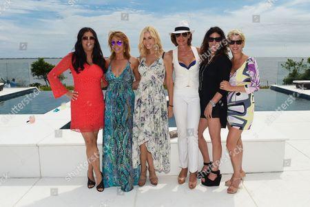 L-R) Patti Stanger, Jill Zarin, Aviva Drescher, LuAnn de Leeseps, Cindy Barshop, and Dorinda Medley attend Jill Zarin's 3rd Annual Private Luxury Benefit Luncheon in Southampton, in New York