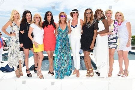 L-R) Aviva Drescher, Cindy Barshop, Ramona Singer, Patti Stanger, Jill Zarin, LuAnn de Leeseps Cynthia Bailey, Carla Stephens Dorinda Medley, and Andrea Canning attend Jill Zarin's 3rd Annual Private Luxury Benefit Luncheon in Southampton, in New York