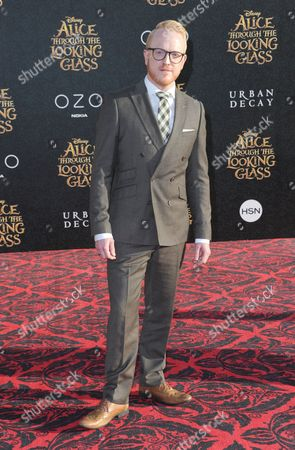 "Owain Rhys Davies arrives at the premiere of ""Alice Through the Looking Glass"" at the El Capitan Theatre, in Los Angeles"