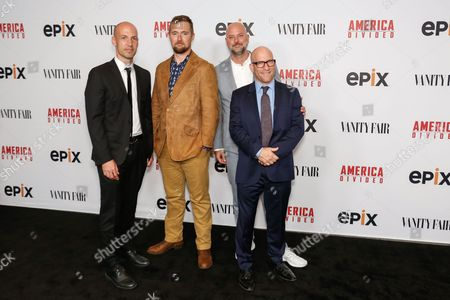 """Richard Rowley, from left, Lucian Read, Dave O'Connor, and Solly Granatstein arrive at the LA Premiere of """"America Divided"""" at The Billy Wilder Theater, in Westwood, Calif"""