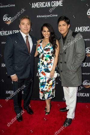 "From left, Benito Martinez, Gleendilys Inoa, and Johnny Ortiz attend the LA Premiere of ""American Crime"" on in Los Angeles"